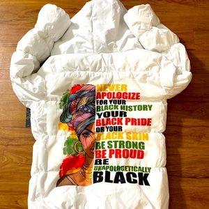 Women's Customized White Puffer Jacket Size Small